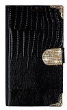 PinShang Samsung N7500 Galaxy Note 3 Neo Taşlı Kapaklı Cüzdan Siyah Kılıf