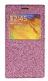 Pinshang Samsung N9000 Galaxy Note 3 Pencereli Simli Pembe Kılıf