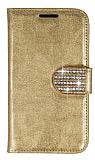 PinShang Samsung N7500 Galaxy Note 3 Neo Taşlı Standlı Cüzdan Rugan Gold Kılıf