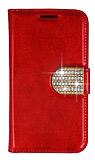 PinShang Samsung N7500 Galaxy Note 3 Neo Taşlı Standlı Cüzdan Rugan Kırmızı Kılıf