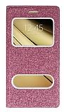 Pinshang Sony Galaxy C5 Pencereli Simli Pembe Kılıf