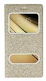 Pinshang Sony Galaxy C5 Pencereli Simli Gold Kılıf