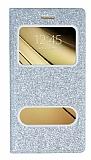Pinshang Sony Galaxy C5 Pencereli Simli Silver Kılıf
