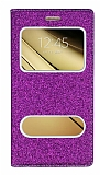 Pinshang Sony Galaxy C5 Pencereli Simli Mor Kılıf