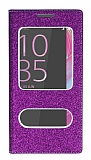 Pinshang Sony XA Ultra Pencereli Simli Mor Kılıf