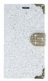 PinShang Sony Xperia XA Taşlı Kapaklı Cüzdan Beyaz Kılıf