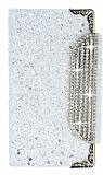 PinShang Sony Xperia Z3 Compact Taşlı Kapaklı Cüzdan Beyaz Kılıf