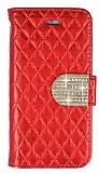 PinShang Star iPhone SE / 5 / 5S Taşlı Standlı Cüzdan Kırmızı Kılıf