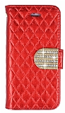 PinShang Star LG G2 Taşlı Standlı Cüzdan Kırmızı Kılıf