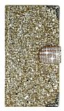 PinShang Turkcell T60 Taşlı Kapaklı Cüzdan Gold Kılıf