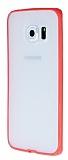 PIPILU Samsung Galaxy S6 Edge Neon Pembe Silikon Kenarl� �effaf Rubber K�l�f