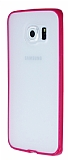 PIPILU Samsung Galaxy S6 Edge Pembe Silikon Kenarl� �effaf Rubber K�l�f