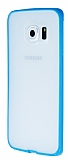 PIPILU Samsung Galaxy S6 Edge Mavi Silikon Kenarl� �effaf Rubber K�l�f