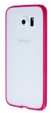 PIPILU Samsung i9800 Galaxy S6 Pembe Silikon Kenarlı Şeffaf Rubber Kılıf