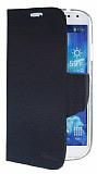 Eiroo Samsung i9500 Galaxy S4 �ift Renk Kapakl� Siyah ve Lacivert Deri K�l�f