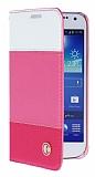 Rada Samsung i9190 Galaxy S4 mini Çizgili Standlı Cüzdanlı Pembe Deri Kılıf