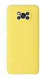 Xiaomi Poco X3 Kamera Korumalı Sarı Silikon Kılıf