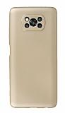 Xiaomi Poco X3 Kamera Korumalı Gold Silikon Kılıf