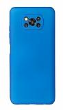 Xiaomi Poco X3 Kamera Korumalı Mavi Silikon Kılıf
