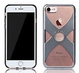 Remax iPhone 7 Selfie Yüzüklü Dark Silver Rubber Kılıf