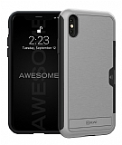 Roar Awesome Hybrid iPhone X / XS Standlı Ultra Koruma Silver Kılıf