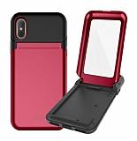 Roar iPhone X / XS Aynalı Ultra Koruma Kırmızı Kılıf