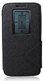Eiroo Clasps LG G2 Pencereli Standlı Siyah Kılıf