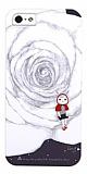 Rock iPhone SE / 5 / 5S Desenli Sert Mat Beyaz Rubber Kılıf