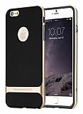 Rock iPhone 6 Plus / 6S Plus Gold Metalik Kenarlı Siyah Silikon Kılıf