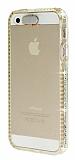 Eiroo Edges Glow iPhone 5 / 5S Fla� Sens�rl� Ta�l� �effaf Gold Silikon K�l�f