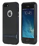 Rock Royce iPhone SE / 5 / 5S Lacivert Metalik Kenarlı Silikon Kılıf