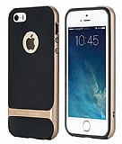 Rock Royce iPhone SE / 5 / 5S Gold Metalik Kenarl� Silikon K�l�f
