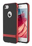 Rock Royce iPhone 7 Kırmızı Metalik Kenarlı Siyah Silikon Kılıf
