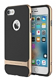 Rock Royce iPhone 7 Gold Metalik Kenarl� Siyah Silikon K�l�f