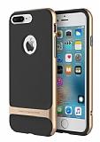 Rock Royce iPhone 7 Plus Gold Metalik Kenarl� Siyah Silikon K�l�f