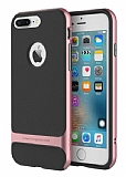 Rock Royce iPhone 7 Plus Rose Gold Metalik Kenarlı Siyah Silikon Kılıf