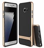 Rock Royce Samsung Galaxy Note 7 Gold Metalik Kenarlı Siyah Silikon Kılıf