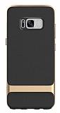 Rock Royce Samsung Galaxy S8 Gold Metalik Kenarlı Siyah Silikon Kılıf
