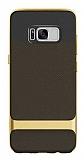 Rock Royce Samsung Galaxy S8 Plus Dark Gold Metalik Kenarlı Siyah Silikon Kılıf