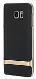 Rock Royce Samsung Galaxy Note 5 Gold Metalik Kenarl� Siyah Silikon K�l�f