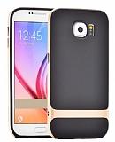 Rock Royce Samsung i9800 Galaxy S6 Gold Metalik Kenarlı Siyah Silikon Kılıf