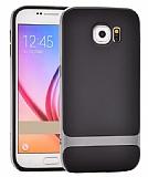 Rock Royce Samsung i9800 Galaxy S6 Dark Silver Metalik Kenarlı Siyah Silikon Kılıf