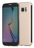 Rock Samsung Galaxy S7 Edge Manyetik Kapaklı Gold Kılıf