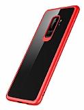 Rock Samsung Galaxy S9 Plus Kırmızı Silikon Kenarlı Şeffaf Rubber Kılıf