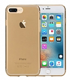 Rock Slim Jacket iPhone 7 Plus / 8 Plus Şeffaf Gold Silikon Kılıf