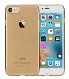 Rock Slim Jacket iPhone 7 Şeffaf Gold Silikon Kılıf
