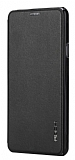 Rock Touch Samsung Galaxy A7 2016 �nce Yan Kapakl� Siyah Deri K�l�f