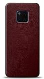 Dafoni Huawei Mate 20 Pro Bordo Deri Görünümlü Telefon Kaplama
