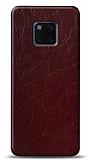 Dafoni Huawei Mate 20 Pro Bordo Electro Deri Görünümlü Telefon Kaplama