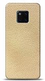 Dafoni Huawei Mate 20 Pro Krem Deri Görünümlü Telefon Kaplama